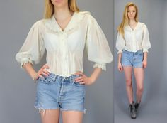 Vintage 70s Sheer Victorian Blouse Boho Cream Off White Eyelet Lace Ruffle Puff Sleeve Romantic Hippie Peasant Prairie Shirt Top Bohemian Button Up by BlueFridayVintage