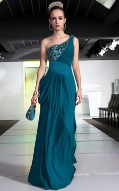 Bridesmaid Ball Cyan One Shoulder Chiffon Beadings/Pattern Long Evening Dress