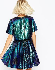 Image 2 of ASOS Sequin Crop Top Skater Mini Dress