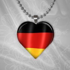 Puffy Heart Shaped Glass Pendant -German Flag - Shimmer Metallic--http://www.artfire.com/ext/shop/studio/HCLTreasures