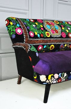 Patchwork sofa with suzani fabrics  2 by namedesignstudio on Etsy