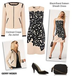 Date Night Outfit Gerry Weber Print Sheath Sateen Dress with Contrast Black and Sand Zip Collar Jacket