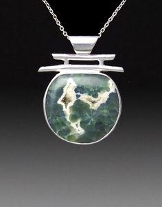 "Ocean Jasper pendant in Sterling Silver""Koi"" #364"