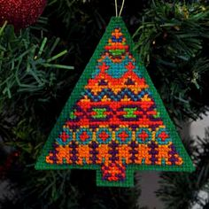Fair Isle, Cross Stitch Christmas Tree Ornament CARD