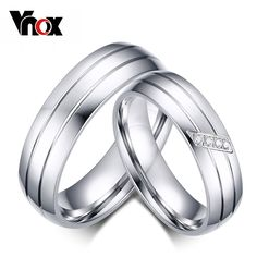 Vnox Fashion Wedding Rings Stainless Steel Ring Female Male Promise Ring Cubic Zirconia Couple Jewelry Sales Promotion