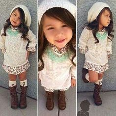 Little girl fashion, slouchy knit hat, necklace, floral shirtdress, sheer tunic, knee highs, lace up boots