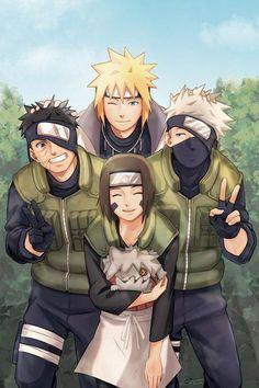 Naruto: Minato Namikaze, Obito Uchiha, Rin and Kakashi Hatake (Animefang) Naruto Uzumaki Shippuden, Naruto Shippuden Sasuke, Naruto Kakashi, Anime Naruto, Naruto Fan Art, Naruto Teams, Naruto Cute, Konoha Naruto, Naruhina