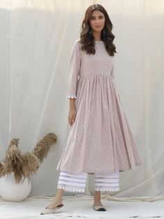 Pastel Pink Polka Printed Cotton Kurta with White Palazzo - Set of 2 Latest Fashion Dresses, Indian Fashion Dresses, Dress Indian Style, Indian Designer Outfits, Indian Outfits, Designer Dresses, Emo Outfits, Indian Gowns, Trendy Outfits