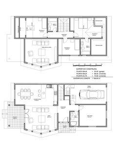 Plano constructivo de vivienda de 197 m2