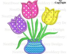 Tulip embroidery applique design, tulips flower in vase machine embroidery design, fls-048