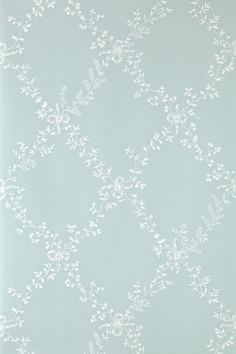 Toile Trellis (BP - Farrow Ball Wallpapers - A quiet nostalgic design featuring delicate leaf motifs and romantic bows. Showing in white on duck egg blue water based paints - more colours are available. Please request a sample for true colour match. Trellis Wallpaper, Wallpaper Samples, Trendy Wallpaper, Home Wallpaper, Pattern Wallpaper, Bedroom Wallpaper, Farrow Ball, Farrow And Ball Paint, Duck Egg Blue Bedroom