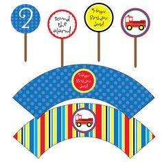 Firetruck Fireman Cupcake Topper Wrapper Set Printable Child's Birthday Party Package, Boy, DIY Digital File