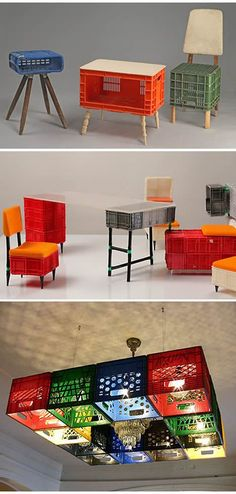 pallets rock but so do milk crates. this milk crate furniture via whorange. plastic box+foot=furni pallets rock but so do milk crates. this milk crate furniture via whorange. Milk Crate Furniture, Recycled Furniture, Diy Furniture, Furniture Design, Milk Crate Chairs, Furniture Cleaning, Business Furniture, Industrial Furniture, Outdoor Furniture