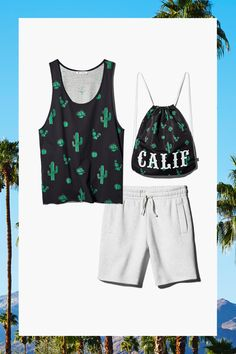 Put on some desert flora with this graphic cactus men's tank, California drawstring backpack, and gray sweat shorts.│ H&M Loves Coachella