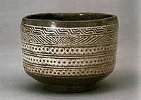 Mishima Oke (o-meibutsu) The Mishima name may be 17th-century, but the style itself goes back to the Koryo Period (935-1392) when bowls decorated in this way were known as Korai-jawan or Korai tea bowls. These were also inlaid with various motifs such as floral and animal depictions. A potter would incise the design in the body, fill it in with contrasting colored clay or slip and then cover it with a transparent glaze. This technique peaked in Korea in the 12th-13th-century Koryo celadons.