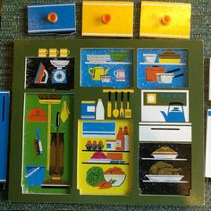 Vintage-Retro-Galt-Toys-Wooden-Tray-Puzzle-Jigsaw-with-Pegs-Kitchen-Home-60s-70s