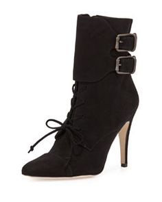 Manolo Blahnik Secunda Buckled Suede Lace-Up Bootie Fall 2015