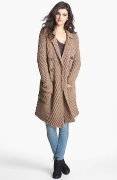 Free People 'Buttermilk Biscuit' Textured Knit Cardigan | Nordstrom  long chunky knit brown wool cardigan