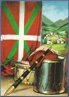 Txistu, tamboril, atabal, ikurriña y paisaje vasco. (367) Bilbao, Basque Country, Spain, Old Things, Europe, France, Culture, Travelling, Painting