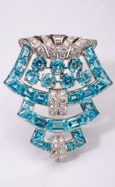 Art Deco Aquamarine, Diamond & Platinum Brooch by Cartier 1930