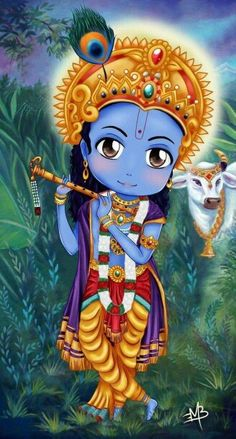 Lord Krishna and his cow. Arte Krishna, Bal Krishna, Radha Krishna Photo, Krishna Leela, Krishna Drawing, Krishna Painting, Lord Krishna Wallpapers, Radha Krishna Wallpaper, Lord Krishna Images