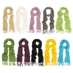 TrendsBlue Elegant Solid Color Fringe Scarf - Different Colors Available