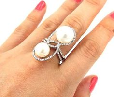 0.42ct Diamond & Double 10mm Pearl Tear Drop 14K White 31mm Ring – Size 6