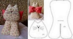 Pin De Cheryl Deets En Garitos   Gatos De Trapo Sewing Toys, Sewing Crafts, Sewing Projects, Animal Sewing Patterns, Stuffed Animal Patterns, Fabric Toys, Fabric Crafts, Cat Template, Fabric Animals