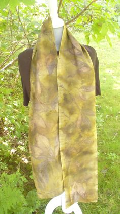 Hand Dyed Silk Scarf Nature Dyed with Leaves by ArtfullyMade, $40.00 USD