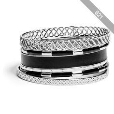 GUESS Selina Silver-Tone Bracelet Set