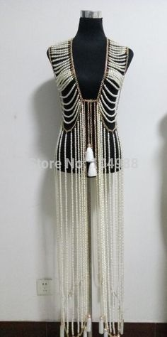 FREE SHIPPING NEW STYLE B731 Women Rock Gold Plated Chains Imitation Pearls Beads LOnger Dress Body Chains Jewelry