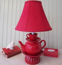 Red Teapot Lamp, Red Teapot and Red Teacup, Tea Cup Shabby Chic Country French Cottage Alice in Wonderland Inspired. $80.00, via Etsy.