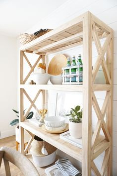 A Simple Spring Home Tour – almafied.com Wood And Metal, Metal Walls, Coffee Table Rug, Entry Furniture, Dining Chairs, Dining Table, Patterned Chair, Task Lamps, Spring Home