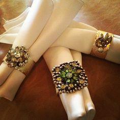 Vintage Brooch Napkin Rings