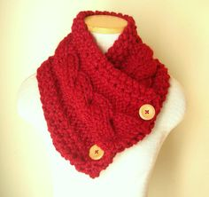 Knit Scarf Cable Cowl in Red Garnet Ready to by WindyCityKnits, $35.00 #fashion #red #scarf #valentine