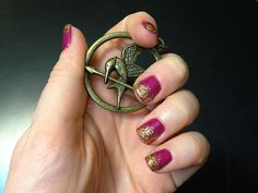 Hunger Games Nails: Effie Trinket >> http://blog.diynetwork.com/maderemade/how-to/hunger-games-nails-effie-trinket?soc=pinterest