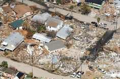 Damage in Galveston, TX from Hurricane Ike. September 13, 2008.