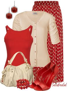 """LOLO Moda: Elegant spring fashion I'm not a """"red"""" person but I like this. Skirt Outfits, Modest Outfits, Chic Outfits, Spring Outfits, Fashion Outfits, Womens Fashion, Fashion Tips, Work Fashion, Modest Fashion"""