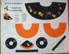 Lucy Goosey Plush Doll Witch Halloween Doll Costume Sewing Panel  1997 Uncut #FabricTraditions
