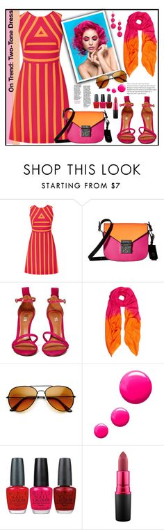 """""""2 tone 2 nice"""" by kleinwillwin ❤ liked on Polyvore featuring MCM, Schutz, Allegra London, Topshop, OPI, MAC Cosmetics and BaubleBar"""
