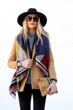 Fashion Jackson // Colorblock Blanket Scarf, Camel Blazer, Black Hat // Fall Outfit