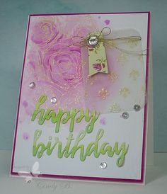 A birthday card hand stamped with a distressed ink and embossed background. MFT stamps by Cindy Beach