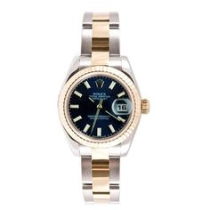 Rolex Ladys New Style Heavy Band Stainless Steel & 18K Gold Datejust Model 179173 Oyster Band Fluted Bezel Blue Stick Dial Rolex. $6795.00