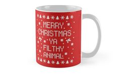'Merry Christmas Ya Filthy Animal' Mug by Lallinda Funny Coffee Mugs, Coffee Humor, Funny Mugs, Animal Mugs, Merry Christmas Ya Filthy Animal, Mug Designs, Sell Your Art, Decorative Throw Pillows, Finding Yourself