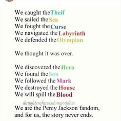 Percy Jackson was my first fandom, the first time I fell in love with a book and Percy's always there to say something sassy or do something heroic when I need it most