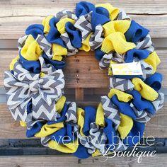 Summer Burlap Wreath Navy Yellow Chevron by YellowBirdieBoutique, $42.00