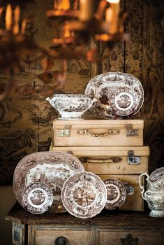 Arts & Antiques | Atlanta Homes & Lifestyles- Brown Transferware