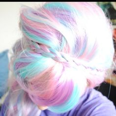 Pastel rainbow hair - pink, peach, blue - and braids!