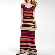 a.n.a® Striped Maxi Dress with Belt