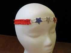 July 4th Sparkling Stars Headband or Head Chain with Red Ruffle Elastic by FourHeartsDesigns on Etsy